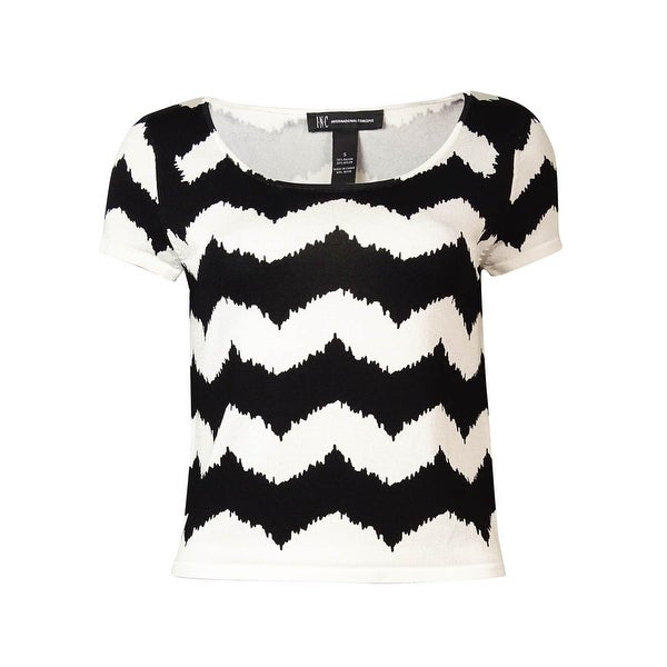INC International Concepts Women's Chevron Cropped Knit Top - WHITE/BLACK