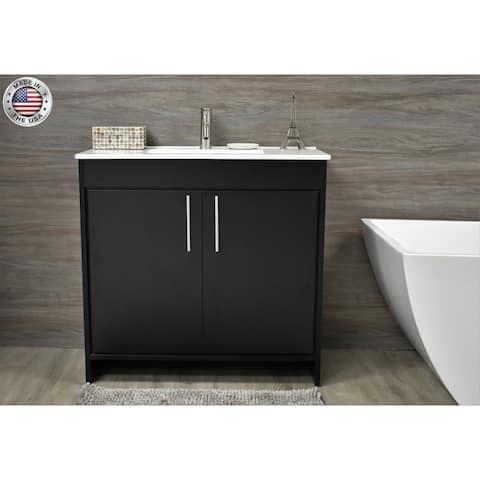 Volpa USA Villa 30-inch Black Freestanding Bathroom Vanity Set