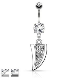 Dragon Tooth Paved Gems Dangle Navel Ring (Sold Individually)
