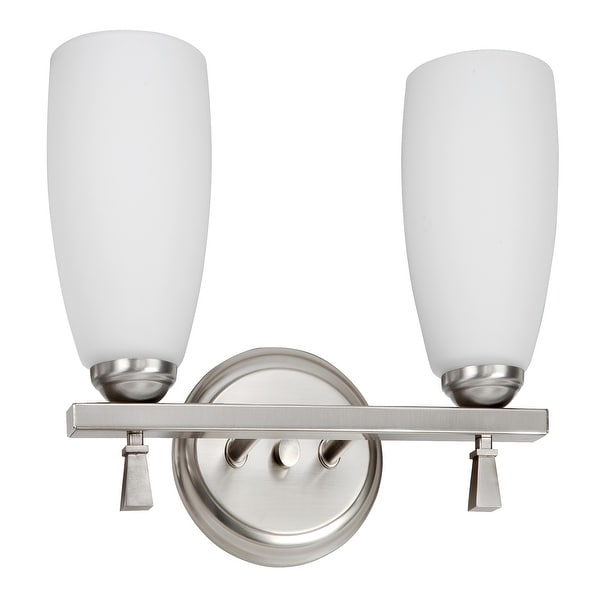 Voltare 2-light Satin Nickel 13W Vanity, White Glass Diffuser. Opens flyout.