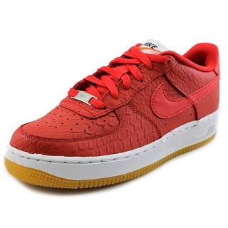 Nike Air Force 1 Low GS Youth Round Toe Leather Red Sneakers