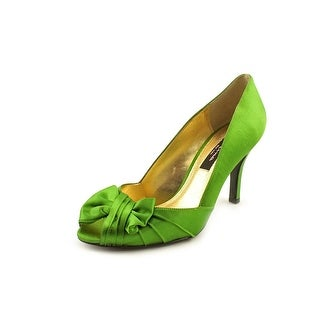 Nina NEW Green Women's Shoes Size 5.5M Forbes Satin Open Toe Pump