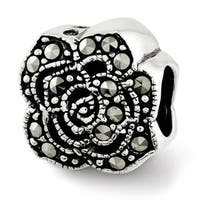 Sterling Silver Reflections Marcasite Flower Bead (4mm Diameter Hole)