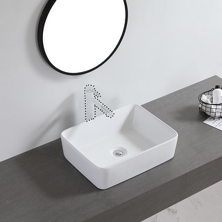 "Link to Ceramic Basin Above Counter Basin Beveled Rectangle White - 7'6"" x 9'6"" Similar Items in Sinks"