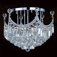 "Worldwide Lighting W33021C20 Empire 9 Light 20"" Flush Mount Ceiling Fixture in Chrome with Clear Crystals"