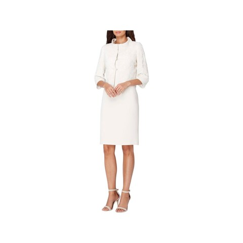 Tahari Womens Dress Suit Lace Overaly Mesh