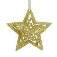 "4.5"" Whimsical Gold Glitter Swirled Star Christmas Ornament"