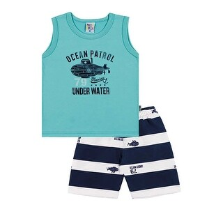 Toddler Boy Outfit Tank Top and Striped Shorts Set Pulla Bulla Sizes 1-3 Years (2 options available)