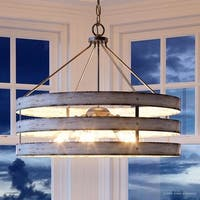 "Luxury Modern Farmhouse Pendant Light, 22.75""H x 27.75""W, with Rustic Style, Galvanized Steel Finish by Urban Ambiance"