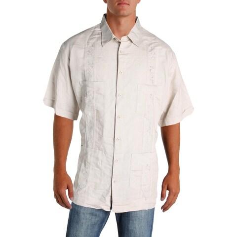 Cubavera Mens Big & Tall Button-Down Shirt Ramie Embroidered