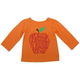 Sprockets Little Girls Orange Apple Letter Print Long Sleeved Shirt 4-6X