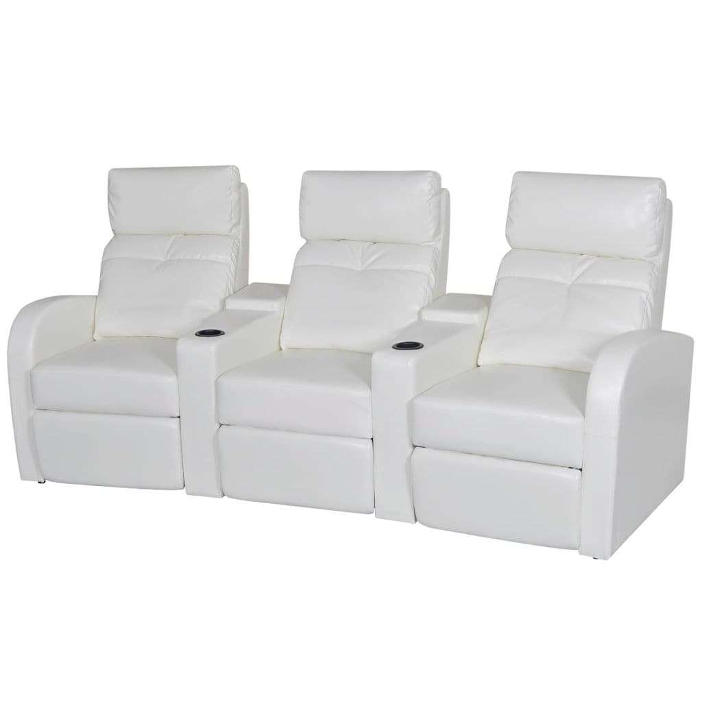 Magnificent White Artificial Leather 3 Seat Home Theater Recliner Sofa Lounge W Cup Holder Gmtry Best Dining Table And Chair Ideas Images Gmtryco