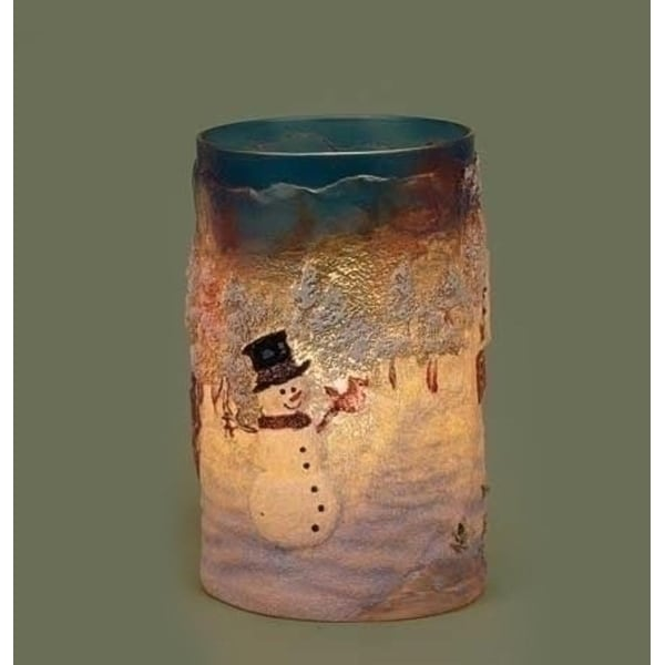 """6"""" Country Rustic Snowman Cottage Winter Scene Textured Christmas Votive Candle Holder"""