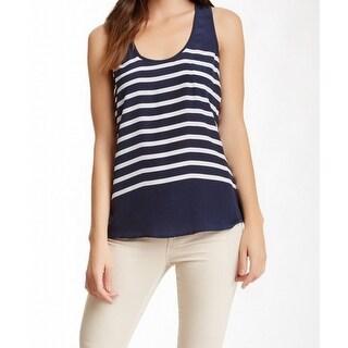 Joie NEW Navy Blue Women Size XS Scoop-Neck Rain B Stripe Silk Tank Top