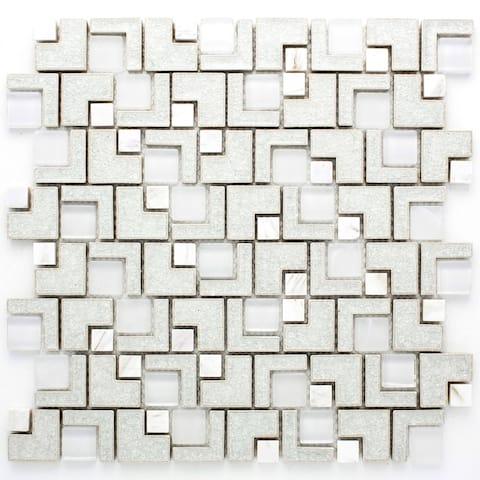 TileGen. Maze Square Random Sized Glass and Ceramic Mosaic Tile in White Wall Tile (10 sheets/11.9sqft.)