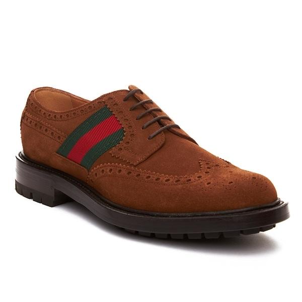 Gucci Men's Suede Web Brogue Shoe Brown