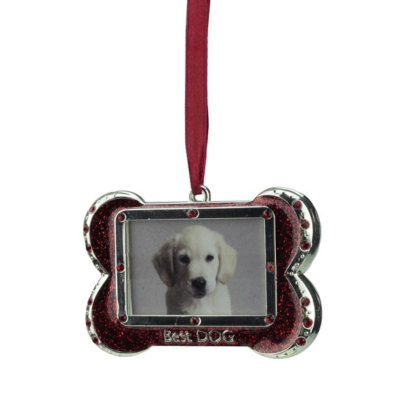 "3"" Regal Shiny Silver-Plated Red ""Best DOG"" Bone Picture Ornament with European Crystals"