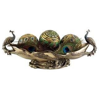 Design Toscano Peacock's Decorative Centerpiece Sculptural Bowl - 17.5 x 7.5 x 6.5