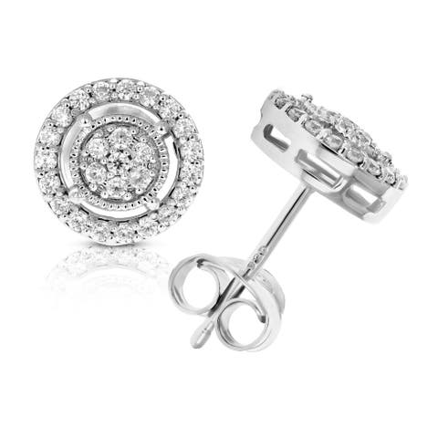 3/8 cttw Round Diamond Stud Earrings in .925 Sterling Silver With Rhodium