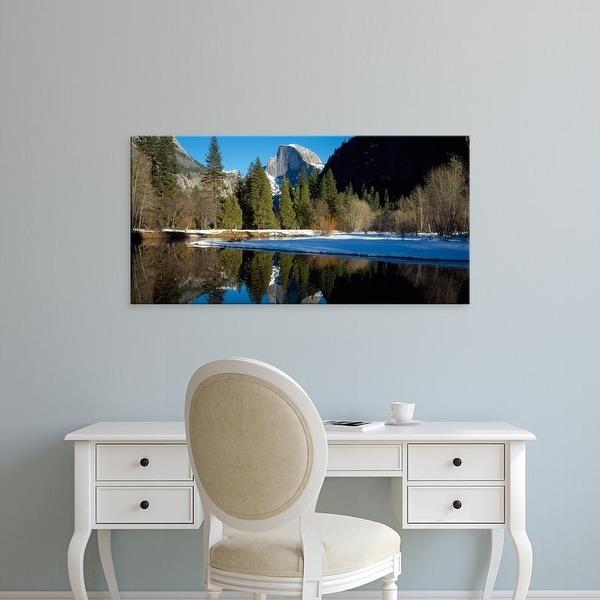 Easy Art Prints Panoramic Images's 'Merced River, Half Dome, Yosemite National Park, Mariposa, California' Canvas Art