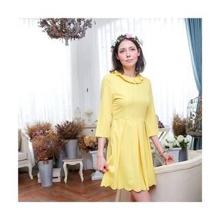 Womens Yellow Lotus Leaf Frill Collar Scalloped Hem Knee Length Dress