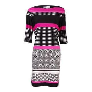 Sandra Darren Women's Printed 3/4 Sleeve Jersey Dress (8, Fuschia/Black/Multi) - 8