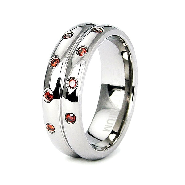 Titanium Eternity CZ Wedding Band with Orange CZs (Sizes 6-8)