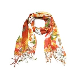 Women's Fashion Floral Soft Wraps Scarves - F2 orange