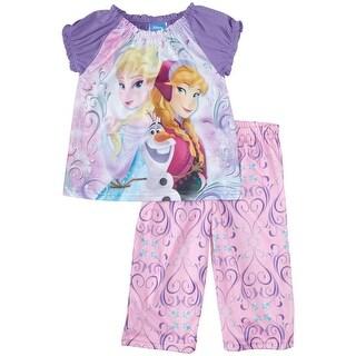Disney Girls 4-10 Frozen Pajama Set - Purple