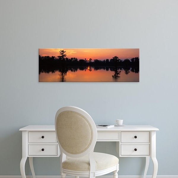Easy Art Prints Panoramic Images's 'Lake at sunset, Horseshoe Lake Conservation Area, Illinois, USA' Canvas Art