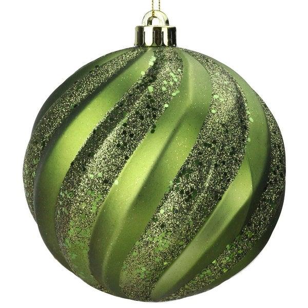 "Olive Green Glitter Swirl Shatterproof Christmas Ball Ornament 6"" (150mm)"