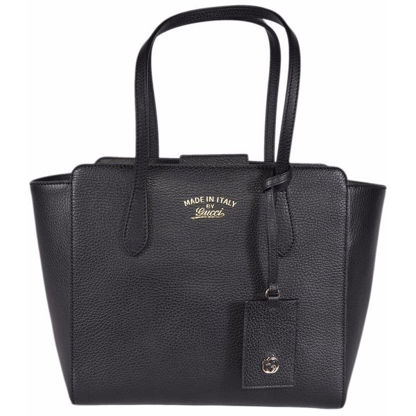 Gucci 354408 Small Black Leather Trademark Logo Swing Tote Purse w/ID Tag