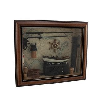 World Map Nautical Decor In Wood Shadow Box Wall Display