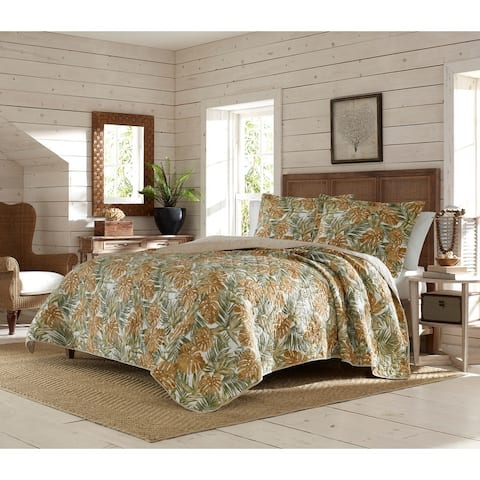 Tommy Bahama Newland Forest Cotton Reversible Yellow Quilt Set