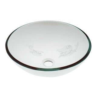 Tempered Glass Vessel Fish Etched Bathroom Sink Pop-up In Renovator's Supply