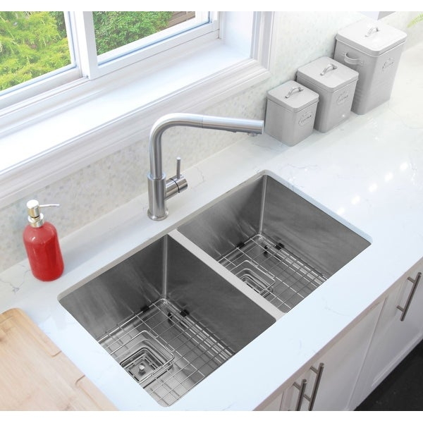 """30""""L x 18""""W Stainless Steel Double Basin Undermount Kitchen Sink with Grids and Square Strainers"""