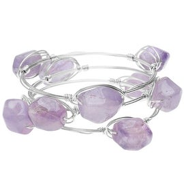 Wire Wrapped Bangle Bracelets, Set of 3, Amethyst Gemstone and Silver, Exclusive Beadaholique Jewelry Kit