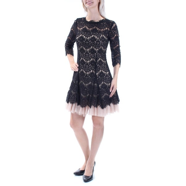 Shop BETSY   ADAM Womens Black Lace 3 4 Sleeve Jewel Neck Above The Knee  Layered Cocktail Dress Size  4 - Free Shipping Today - Overstock - 21690702 cb5c8de23e