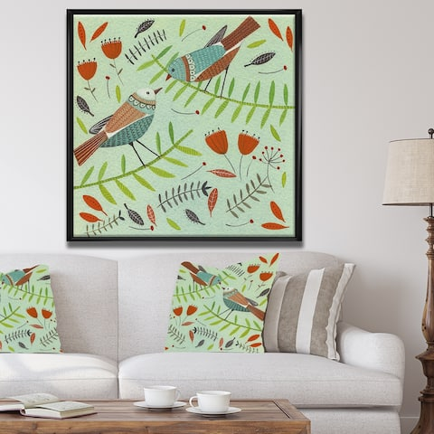 Designart 'Bird Design 10' Cottage Framed Canvas Artwork Print
