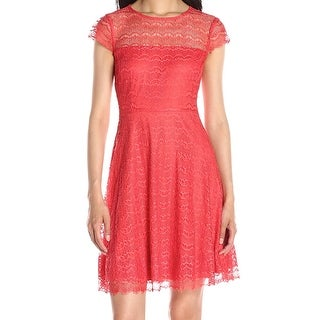 Jessica Simpson NEW Pink Coral Women's Size 10 Sheath Lace Flare Dress
