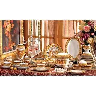 Luxury Design European Royal Butterfly Bone China Dinnerware Set 69 piece service for 6