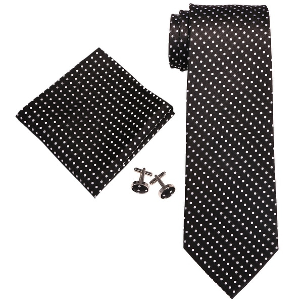Men's Black & White Polka Dots 100% Silk Neck Tie Set Cufflinks & Hanky 18A74 - regular
