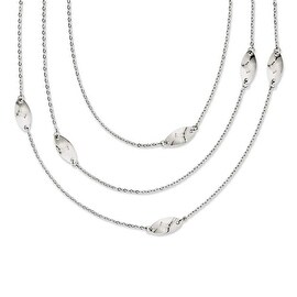 Chisel Stainless Steel Multi Chain with Polished Swirl Layered Slip-on Necklace - 37 in