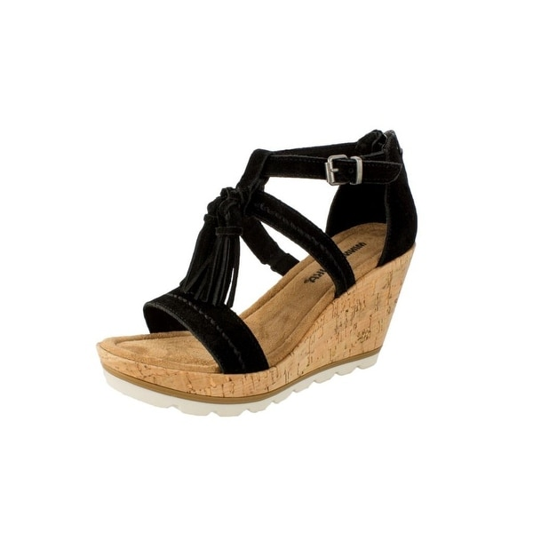 Shop Minnetonka Shoes Womens Suede Wedge Buckle Lincoln Sole - Free  Shipping Today - Overstock - 22307489 c257a175cc
