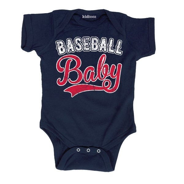 Baseball Baby Vintage Style Distressed Sports Tail Script Infant Baby Bodysuit