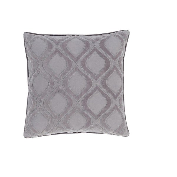 "22"" Rounded Diamonds Misty Silver and Gray Decorative Throw Pillow - Down Filler"