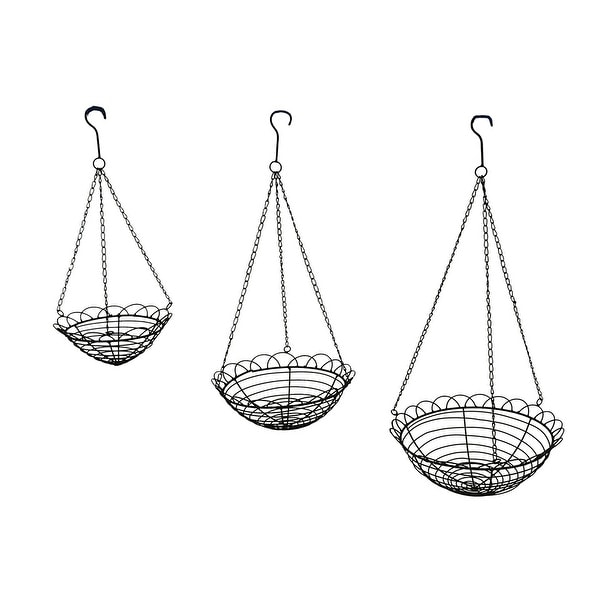 shop set of 3 scallop edge metal wire hanging baskets free