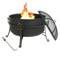 Sunnydaze Steel Cauldron Fire Pit with Spark Screen