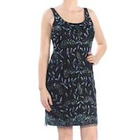 AIDAN MATTOX Womens Black Beaded Mesh Sleeveless Scoop Neck Above The Knee Sheath Cocktail Dress  Size: 10