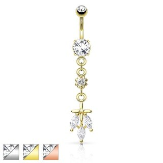 Triple CZ Falling Leaf Dangle Navel Ring